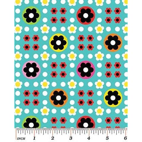BEN097 in tessuto a fiori, colore: rosso, Rosa, Blu, Bianco, Arancione, Giallo, motivo a pois su sfondo blu, in tessuto, 0,5 metri-Benartex Tessuto: 100% cotone