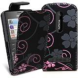 Accessory Master 5055716366853 Design Blumen Pu Ledertasche für Nokia Asha 210 rosa/schwarz preiswert