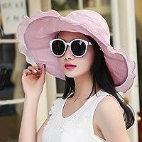 PLKOI La Sra. sombreros Verano Sunscreen Sombrilla Playa Sombreros Sombreros de sol rosado, tapa del enfriador