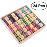 TOYMYTOY 24pcs DIY Natural Jute Twine Art Crafts Hessian Rope Packing String for Industrial Gardening Applications (12 Assorted Colors)