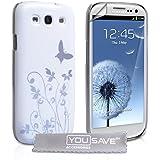 Yousave Accessories Butterfly Hard Schutzhülle mit Displayschutzfolie für Samsung Galaxy S3, Weiß