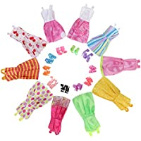 niceEshop(TM) Handmade Dresses for Barbie Doll,10 Pack Doll Clothes with 10 Pairs Doll Shoes (Style At Random)