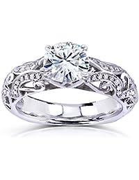 Moissanite anillo de compromiso de diamantes & 11/6de quilate en 14K oro blanco _ 10.0
