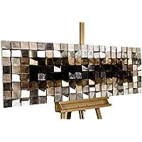 Extravagante cuadro en madera KunstLoft® 'Lustrous Pixel' 147x55x8,5cm | Vintage Decoración XXL mural de arte | abstracto gris marrón plaza | hecho a mano imagen pared moderno