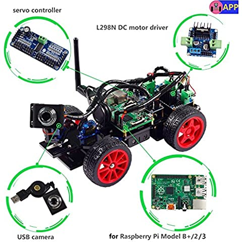 Smart Video Car Kit for Raspberry Pi with Android App, Compatible with RPi 3, 2 and RPi 1 Model B+ (Pi Not
