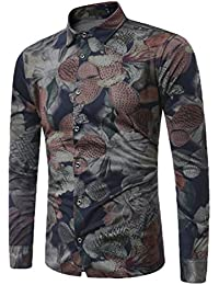 ZhiYuanAN Hombre Camisas Estampadas Moda Camisita Flores De Manga Larga Talla Grande Casual Impresa Chaqueta De Mezclilla