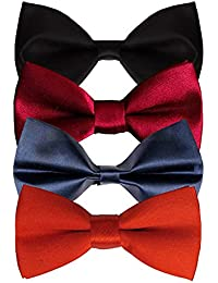 Sorella'z Men's Satin Bowties Black, Red, Navy, Maroon: Pack of 4