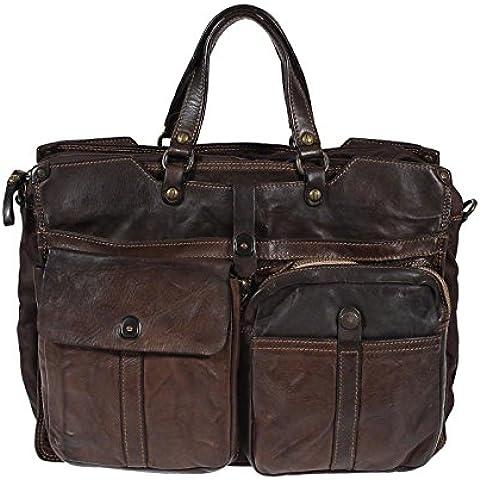 Campomaggi valigetta in nylon e pelle C3800 Castagno sacchetto di affari con il sacchetto del computer portatile cassa del computer portatile Moro Brown - Cuore Canvas Tote