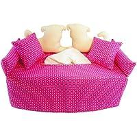 2 kleine Möpse auf Pink mit kleinen Blumen - Bezug für Taschentuchschachtel oder Kosmetiktuchbox - Handgefertigt