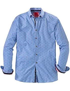 Olymp Hemd Trachtenhemd Level 5 Body Fit blau/weiss