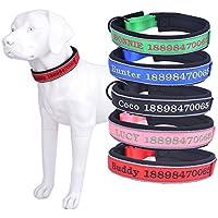 Amakunft Collar reflectante y duradero personalizado para perro con nombre, nombre bordado para teléfono y número de mascota, collar de identificación personalizado para perros