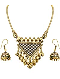 The Trendy Trendz Tribal And Gypsy Style Oxidised Golden Statement Necklace Pendant Earrings Set For Girls And...