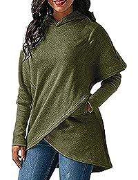 362b5c9897 Elodiey Damen Kapuzenpullover Langarm Sweatshirt Tops Sweatshirt Oberteil  Mit Bluse Unregel Saum 20er Jahre Hoodie…