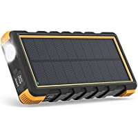 RAVPower Solar Charger 25000mAh Power Bank Outdoor with Micro USB and Type C Inputs, Quick Charge with Flashlight for iPhone XS/XS MAX/XR, Galaxy S9/S8 and More - Orange