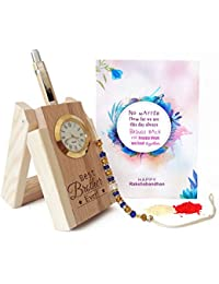 TIED RIBBONS Wooden Penstand with Pen and Rakhi, Roli Chawal for Brother (Multicolour, TR-RB17-BR-PenstandRakhi002)