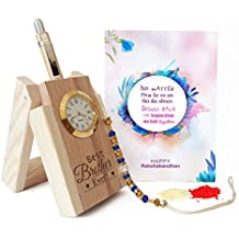 TIED RIBBONS Multicolor Wooden Penstand with Pen and Rakhi with Roli Chawal for Brother