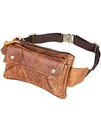 Loyofun Genuina unisex de la cintura del bolso de cuero del bolso de hombro del bolso del pecho bolsillo riñonera marrón
