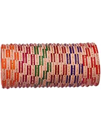 Designer Multicolor Acrylic Bangles Studded With Gold Zircon For Women & Girls On Wedding & Festive Occasion