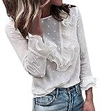 Moda Mujer Casual Encaje Sexy Lunares O Cuello Dulce Volante Camiseta Manga Larga Tops Blusa Luckycat (Blanco, Grande)