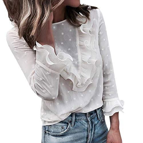 Moda Mujer Casual Encaje Sexy Lunares O Cuello Dulce Volante Camiseta Manga Larga Tops Blusa Luckycat (Blanco, Pequeña)