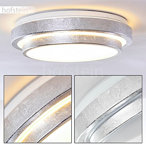 LED Designer Deckenleuchte in Silber-Optik - Sora Deckenspot für Badezimmer, Flur, Wohnzimmer, Diele – 3000 Kelvin warmweißes Licht – 1380 Lumen – 18 Watt – runde, 1-flammige Zimmerleuchte 2-stöckig
