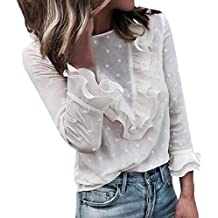 152a3e2230 Moda Mujer Casual Encaje Sexy Lunares O Cuello Dulce Volante Camiseta Manga  Larga Tops Blusa Luckycat