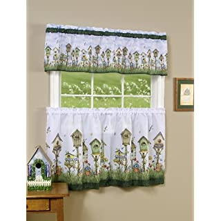 Achim Home Furnishings Home Sweet Home Tier and Valance Set, 58-Inch by 24-Inch, Multi