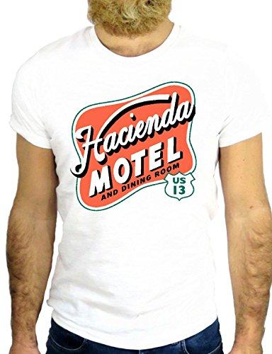 T SHIRT JODE Z2255 HACIENDA HOTEL LOGO CALIFORNIA LAS VEGAS LOS ANGELES USA GGG24 BIANCA - WHITE