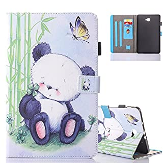 Aeeque Galaxy Tab A6 10.1 Lovely Animal Panda Pattern and Premium PU Leather Flip Magnetic Cover Tablet Stand Protective Case for Samsung Galaxy Tab A 10.1