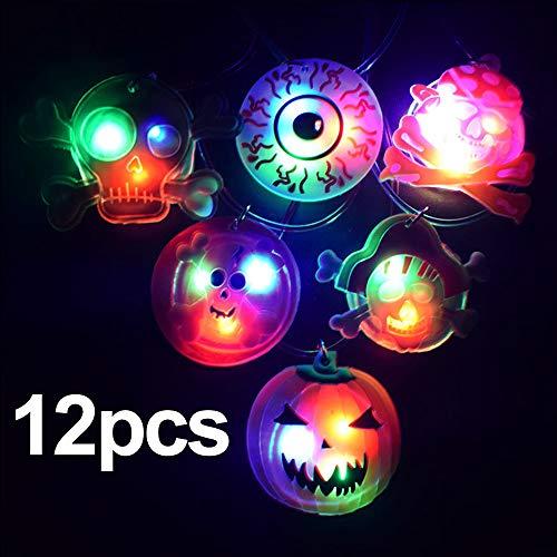 FineInno 12 Stück Halloween LED Halskette Glow Necklace Blinkende Halskette Flashing Pendant Spielzeug für Täntze,Musikfestival,Party, Halloween,Weihnachts(12 Stück ()