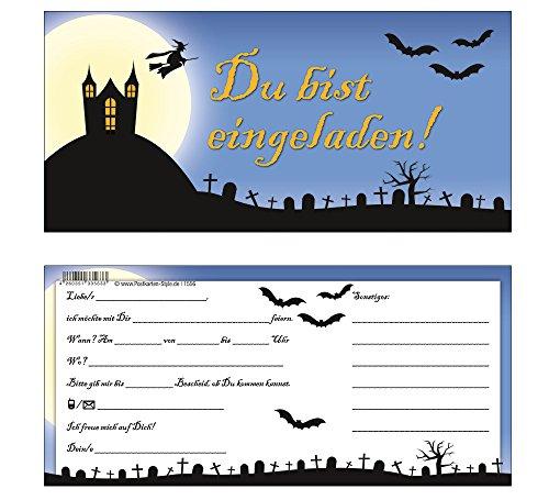 """Einladungskarten Halloween Gruselparty im Geisterschloß 1556\""""DU BIST EINGELADEN\"""" - 8 Einladungskarten + Kuverts"""