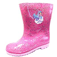 Mermaid Glitter Girls Wellington Rain Boots Pink