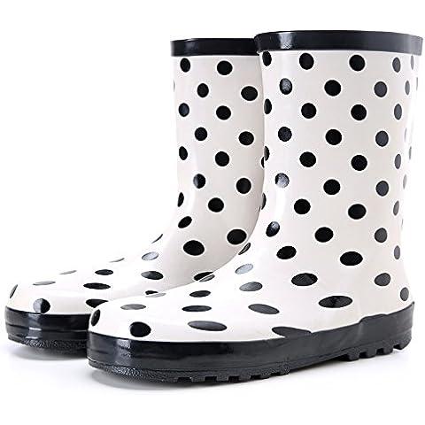 Pioggia stivali donna moda bianco e nero antiscivolo resistente e