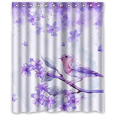 """Bello viola fiori e uccelli acquarello pittura, orchids Tende doccia 100% Poliestere/Impermeabile di ombreggiatura Tende 60 """"x72"""" (152 cm x183 cm)"""