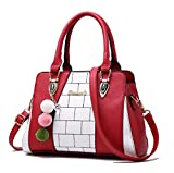 La donna pu in pelle Borsette vintage donne Borse Messenger Designer Crossbody Bag Ladies Borsa Tote borse Top-Handle Borgogna 29cm