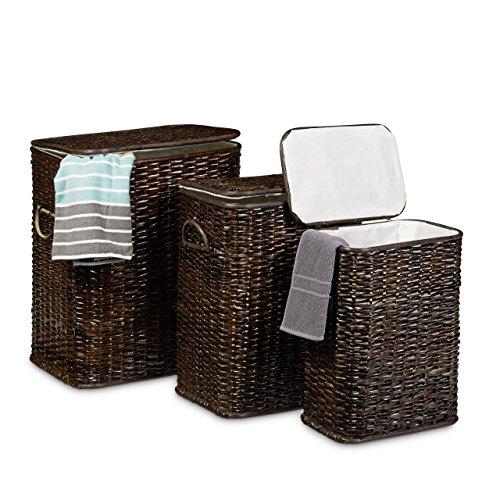 Relaxdays Wäschekorb 3er Set geflochten Rattan eckig HBT 54,5 x 45,5 x 33,5 cm stapelbare Wäschetruhe mit herausnehmbarem Wäschesack waschbar Wäschebox ca. 69 L Wäschesammler atmungsaktiv, schokobraun