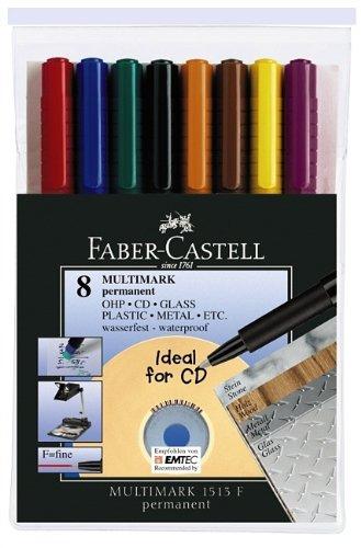 Faber-Castell 1513 09 - Marker MULTIMARK permanent, Stärke: F, 8er Etui
