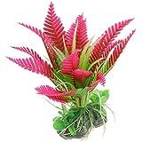 Sourcingmap Base de céramique rose chaud vert plante plastique pour Aquarium