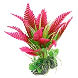 sourcingmap Plastic Fish Tank Ceramic Base Plant/Grass, Hot Pink/Green