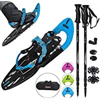 ALPIDEX Snowshoes 25 INCH Shoe Sizes 38 to 45 User Weight up to 130 kg Including Carrying Bag Optional Telescopic Poles