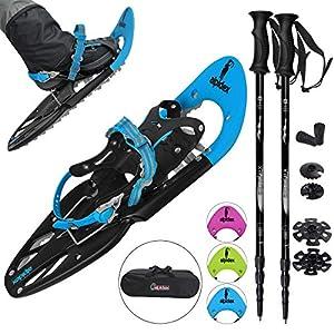 ALPIDEX Schneeschuhe 25 INCH für Schuhgröße 38-45, bis 130 kg, mit Double-Traction Bindung und inklusive Tragetasche – wahlweise mit oder ohne Stöcke erhältlich