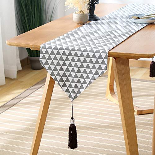 FeiFei156 Einfache Printzen-Stil Tee Tisch Tv Schrank Schrank Schrank Abdeckung Handtuch Graues Dreieck 33 x 160cm -