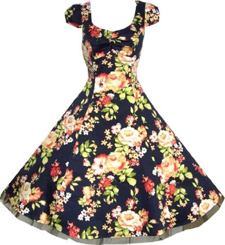 Pretty Kitty Fashion 50s Navy Floral Vintage Swing Prom Pin-Up Tea Dress