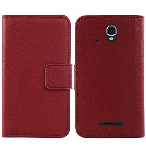Gukas Design Echt Leder Tasche Für Archos Sense 47X 4.7 Compact Hülle Lederhülle Handyhülle Handy Flip Brieftasche mit Kartenfächer Schutz Protektiv Genuine Premium Case Cover Etui Skin (Dark Rot)