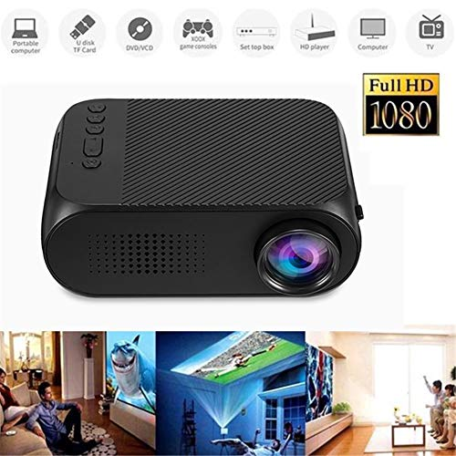 Genmaisima Tragbarer Videoprojektor, LCD-Mini-Projektor-Unterstützung HD 1080P Multimedia-Heimkino-Mediaplayer-Kino-Projektor Ideal für Party/Spiel/TV-Show/Camping Nec Led-tv