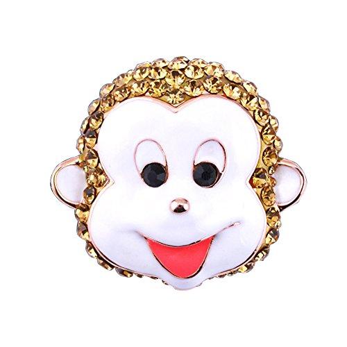 Fengteng Gelb Kristall Affe Kopf Brosche Smily Monkey Damen Abzeichen Fashion Tier Niedlich Karikatur Geschenk (Monkey Schnalle)
