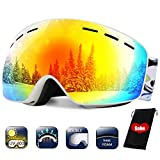 TBoonor Skibrille Kinder Dual-Layer Linse Snowboard Brille für die Jugendliche 5-18 Jahre UV400 Schutz und Anti-Fog Schneebrille für brillenträger verspiegelt sphärische Linse Schutzbrillen