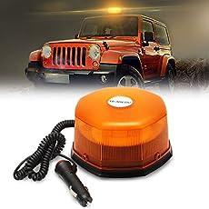 LED Rundumleuchte Warnleuchte AMBOTHER® Warnlicht Alarm Licht Warnblinkleuchte mit Magnetfuß Blinkleuchte KFZ 12V Gelb (54 LED)