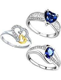 Lady Touch Combo Of Stylist Designer Cz Blue Stone & 2Heart Silver And Gold Plated Platinium Finger Rings For...