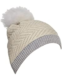UGG Womens Chevron Beanie With Fur Pom
